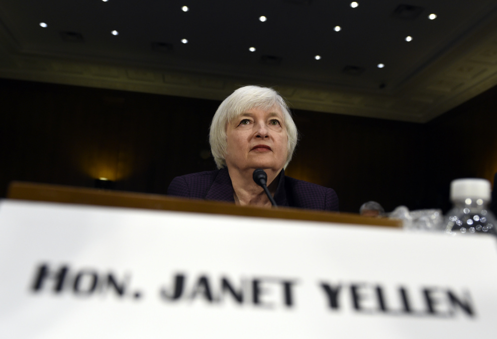 Federal Reserve Board Chair Janet Yellen prepares to testify on Capitol Hill in Washington on Tuesday before the Senate Banking Committee.