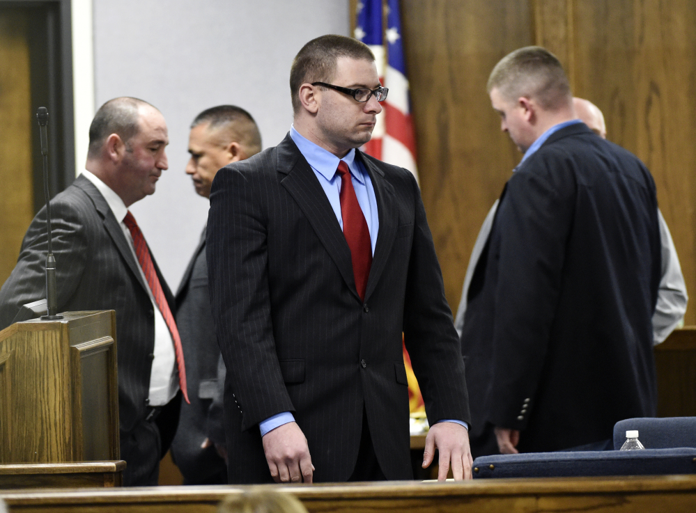 Former Marine Cpl. Eddie Ray Routh stands during his capital murder trial Tuesday in Stephenville, Texas. Routh, 27, was convicted Tuesday night in the 2013 deaths of Chris Kyle and his friend Chad Littlefield at a shooting range near Glen Rose, Texas.