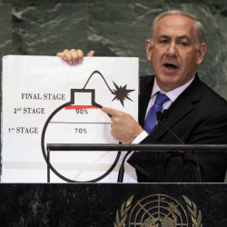 Israeli Prime Minister Benjamin Netanyahu discusses Iran's nuclear ambitions before the United Nations General Assembly in September. He'll address Congress on Tuesday.