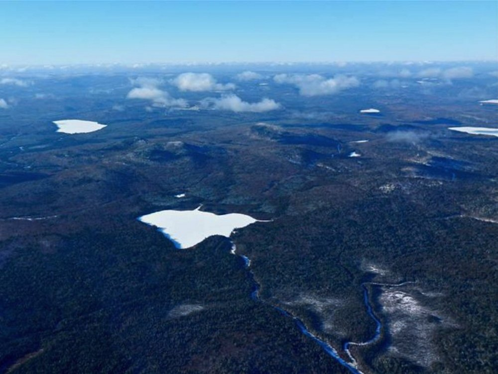 Courtesy of Natural Resources Council of Maine: Bald Mountain, with Greenlaw Pond in the foreground, is owned by Irving, which is considering mining the property for gold, silver and copper deposits.