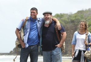 """Mike Holloway, Dan Foley, center, and Kelly Remington of the Blue Collar Tribe share a light moment as the new season of """"Survivor"""" got underway Wednesday on CBS. At one point in the premiere, Foley, a Gorham postal worker, told the camera """"I am here to live my dream."""""""