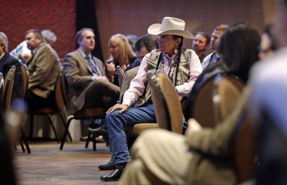 Attendees listen at a marijuana conference for tribal governments considering whether to legalize marijuana for medicinal, agricultural, or recreational use, on Friday in Tulalip, Wash.
