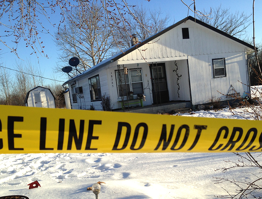 One of the crime scenes in Tyrone, Mo. Seven people were shot to death, one was wounded, and the suspected gunman apparently killed himself.