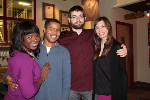 Portlanders, from left, Tiana Garrett, Michael Cherry, Max Levi and Emily Weston at the Beer Hearts Chocolate Valentine's Day benefit for the American Heart Association.
