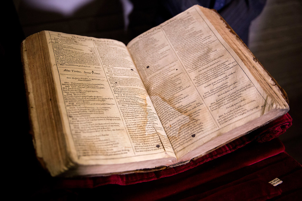 This is a First Folio of Shakespeare plays recently discovered in Saint-Omer in France. The Folger Shakespeare Library in Washington has organized a traveling tour of First Folios to mark the 400th anniversary of Shakespeare's death.