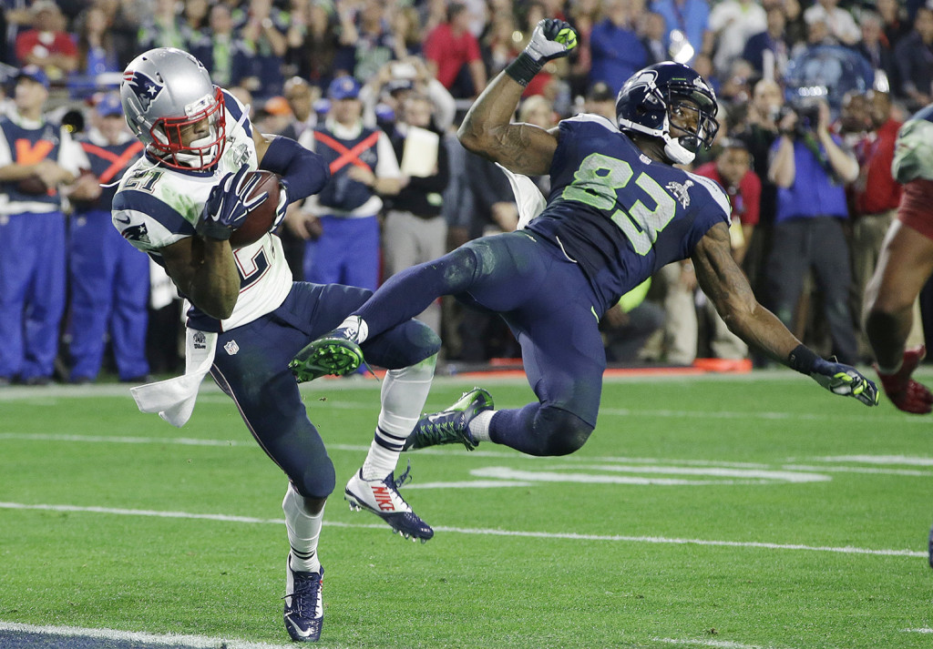 New England Patriots strong safety Malcolm Butler makes the game-saving interception of a pass intended for Seattle Seahawks wide receiver Ricardo Lockette in the last seconds of Super Bowl XLIX  Sunday.
