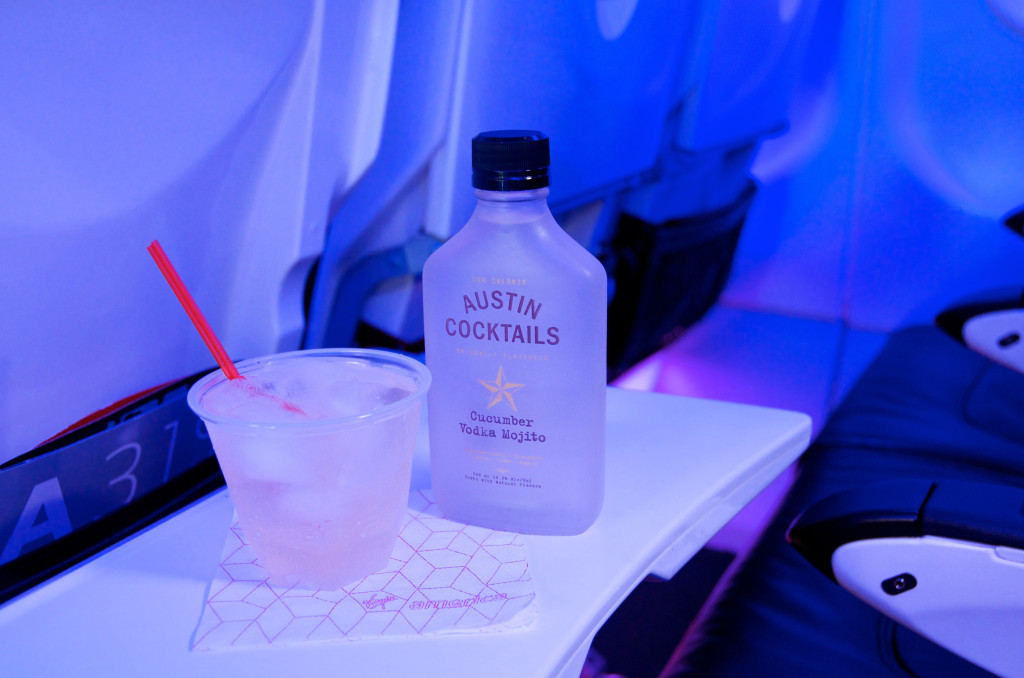 A cucumber vodka mojito served on a Virgin America flight. Anthony Caporale, writer and host of the Off-Broadway musical comedy,