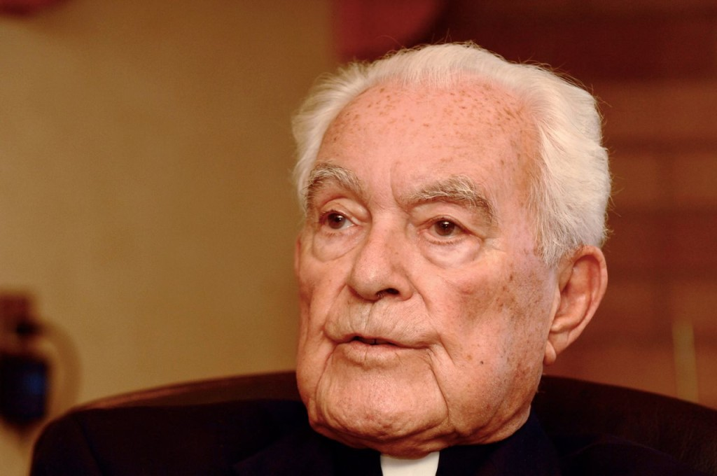 The Rev. Theodore Hesburgh, the priest who transformed the University of Notre Dame into an academic power during his 35 years in charge while also serving as an adviser to popes and presidents, reflects on his life and career in this  Sept. 24, 2007, photo. The Associated Press
