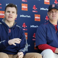 Boston Red Sox Executive Vice President and General Manager Ben Cherington, left, takes questions as Manager John Farrell listens during a news conference at the team's baseball spring training facility in Fort Myers, Fla., on Saturday.  The Associated Press