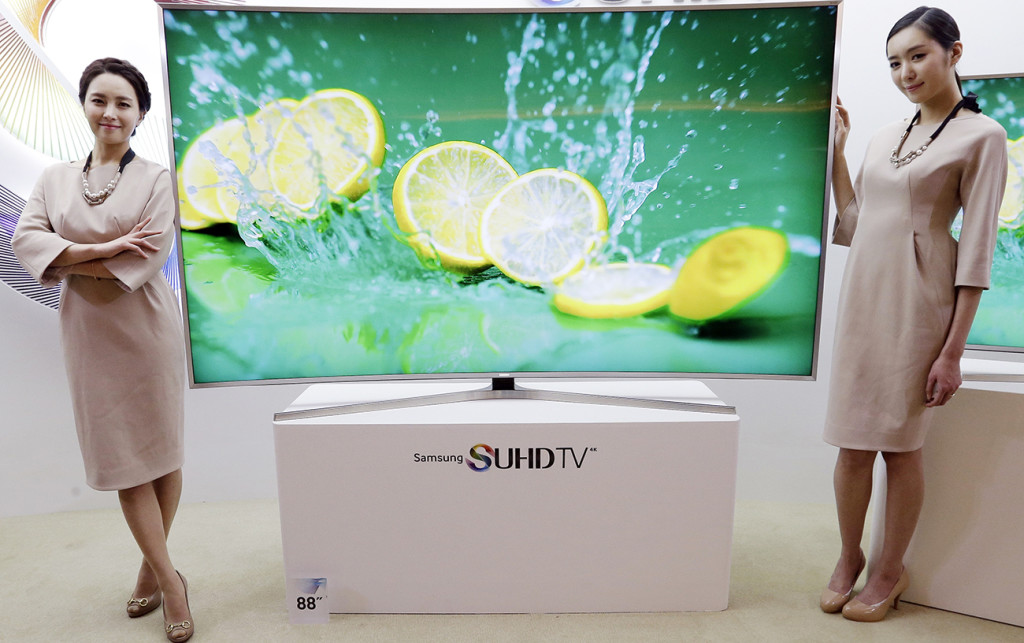 Samsung Electronics introduces its SUHD 4K smart TV in Seoul, South Korea, last month. The Associated Press
