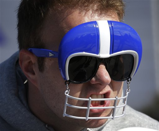 John Rampton poses for a picture before Sunday's Super Bowl. The Associated Press