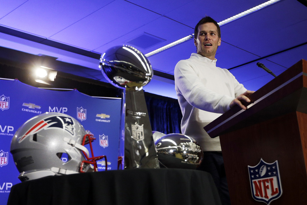 New England Patriots quarterback Tom Brady speaks during a news conference Monday after the Patriots beat the Seattle Seahawks  28-24,  in the Super Bowl XLIX Sunday night. The Associated Press