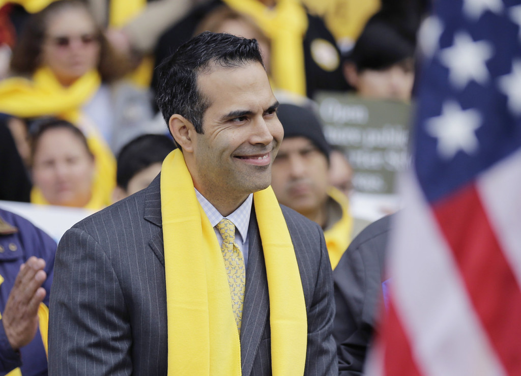 Texas Land Commissioner George P. Bush takes part in a school choice rally at the Texas Capitol in Austin on Jan. 30. The Associated Press