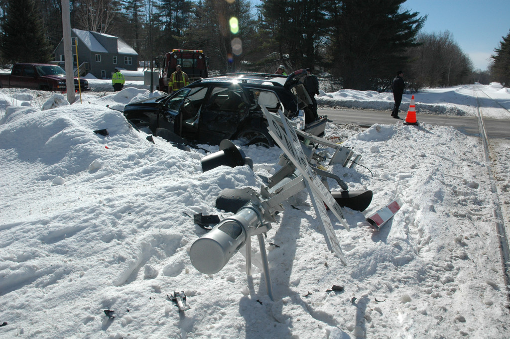 The intersection where the collision took place has safety gates, one of which was broken in the crash. Yarmouth Police Department photo