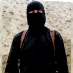 'Jihadi john' in a screen image from an Islamic State video. BBC image