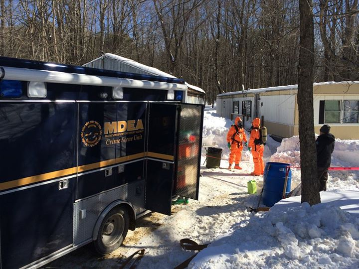 Maine Drug Enforcement agents entered the Hersom Road home to dismantle one-pot meth labs.
