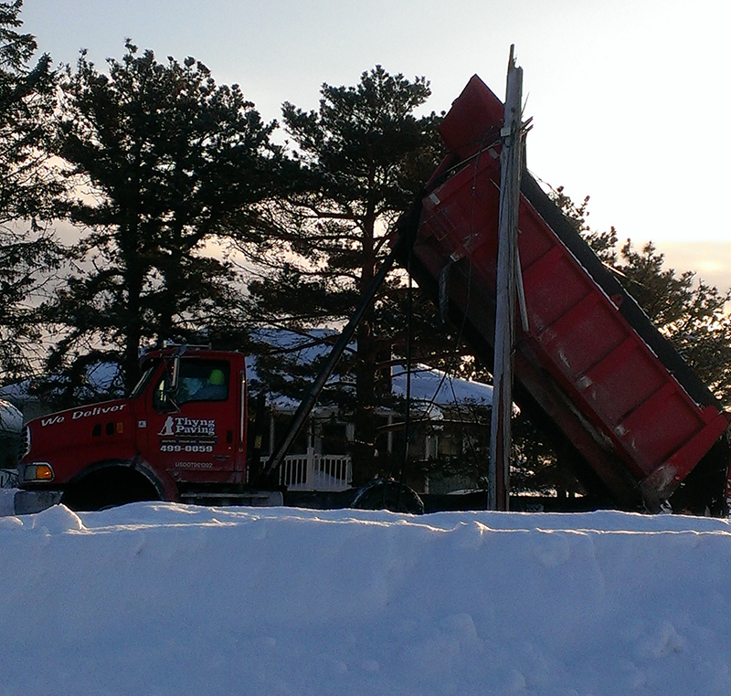 A dump truck took down wires early Friday morning in Scarborough, cutting power to a number of Pine Point residents.