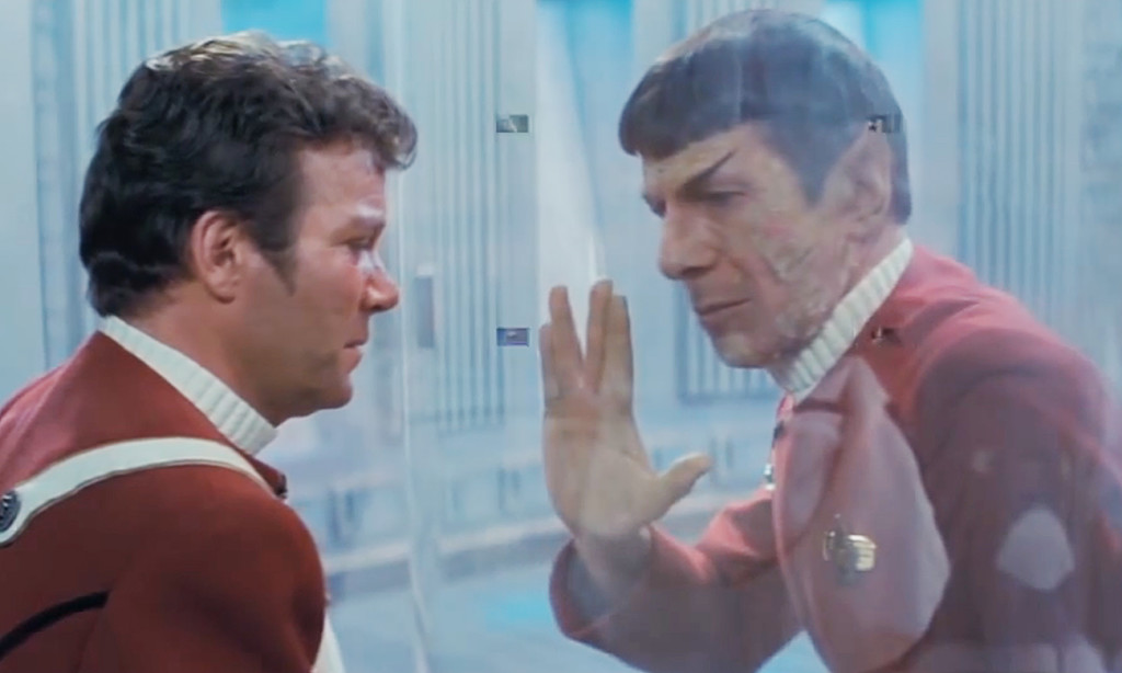 Leonard Nimoy as Mr. Spock, right, givies the Vulcan salute  to William Shatner as Captain Kirk in this image from