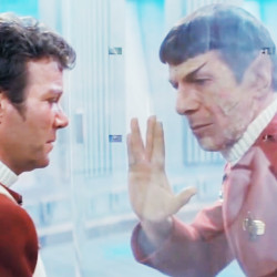 "Leonard Nimoy as Mr. Spock, right, givies the Vulcan salute  to William Shatner as Captain Kirk in this image from  ""Star Trek: The Wrath of Khan."" (1982)"