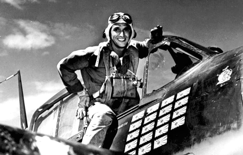 Lt.(jg) Alexander Vraciu in his F6F after the