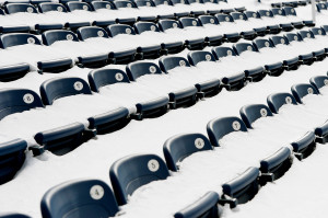 Seats were still buried in snow Tuesday at Hadlock Field. Through the end of February, 89.2 inches of snow had fallen at the Portland Jetport.