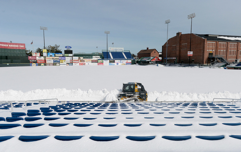 Hadlock Field groundskeeping crew members faced a layer of snow 40 inches deep when they began clearing snow on March 2.