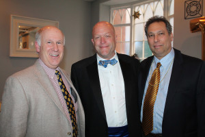 Peter Milliken of North Yarmouth enjoys the VIP Authors Reception with Cyrus Hagge and Jamie Isaacson of Portland during the Telling Room's annual Glitterati.