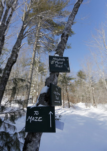 Trail signs point the way at Hidden Valley Nature Center which offers over twenty miles of trails for skiing and snowshoeing. Derek Davis/Staff Photographer