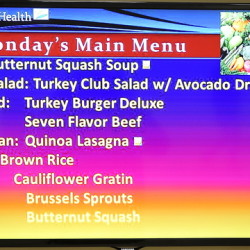 A menu marquee at the MaineGeneral cafeteria includes items like quinoa lasagna, butternut squash soup and brown rice.