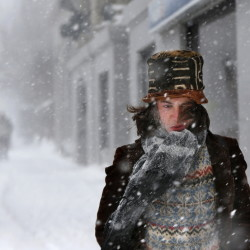 Dylan Chestnutt endures wind-whipped snow and single-digit temperatures during a storm in Portland on Feb. 2. For Portland and many other cities in the Northeast, it was the coldest February on record.