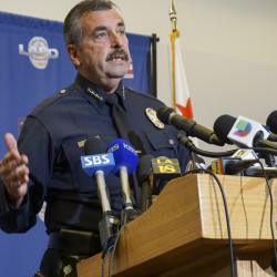 Los Angeles Police Chief Charlie Beck speaks Monday about the shooting of a homeless man on Skid Row on Sunday. Beck said a rookie officer cried out that the man had a hold on his gun before three other officers opened fire.