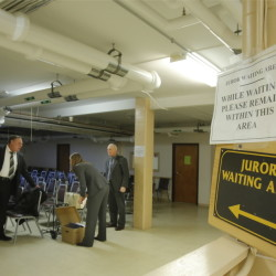 The basement of York County Superior Court in Alfred, where prospective jurors are kept before trials, has been deemed unsafe for crowds. Officials now must find a solution before jury selection begins in several high-profile trials.