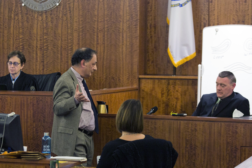 Defense attorney James Sultan cross-examines Massachusetts State Police Trooper David Mackin during the murder trial of former New England Patriots player Aaron Hernandez at Bristol County Superior Court on Tuesday in Fall River, Mass.