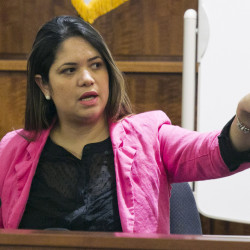 Glaucia Santos testifies during the murder trial of former New England Patriots football player Aaron Hernandez at Bristol County Superior Court on Tuesday in Fall River, Mass.