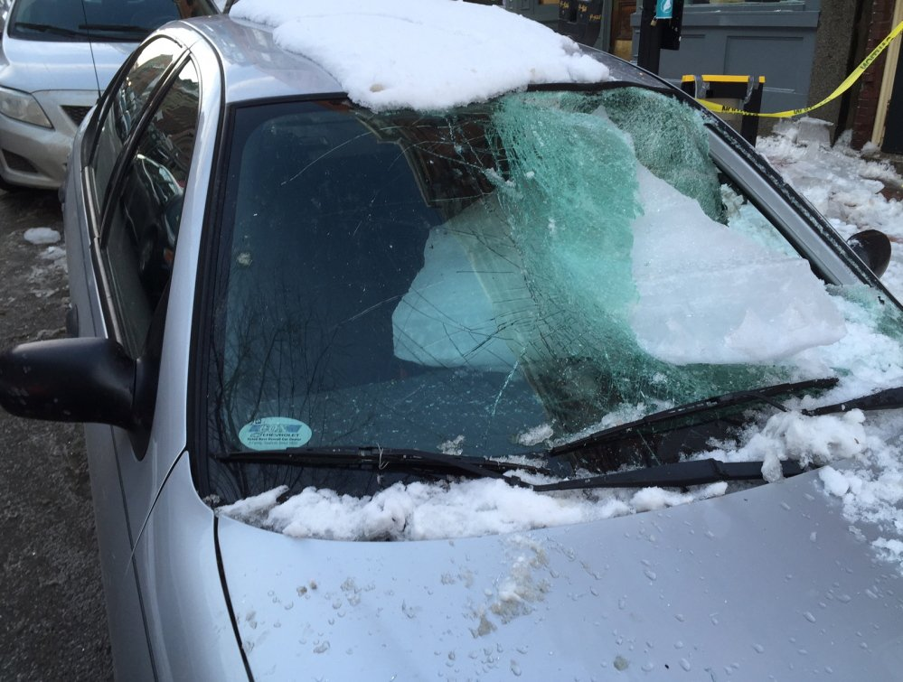 This is the chunk of ice that crashed through the windshield of Adam Sousa's car on Feb. 22 while it was parked on Exchange Street in Portland.