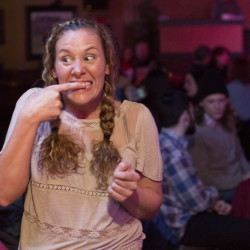 "Improvisational comedy student Lindsey Hersey is animated before her first performance at a bowling alley lounge in Portland. Her approach: ""If I'm gonna bomb, I'm gonna bomb big."""