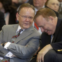 Sen. Stuart Adams, R-Layton, left, and Sen. Jim Dabakis, D-Salt Lake City, during hearing Thursday for a landmark Utah proposal protecting gay and transgender individuals.