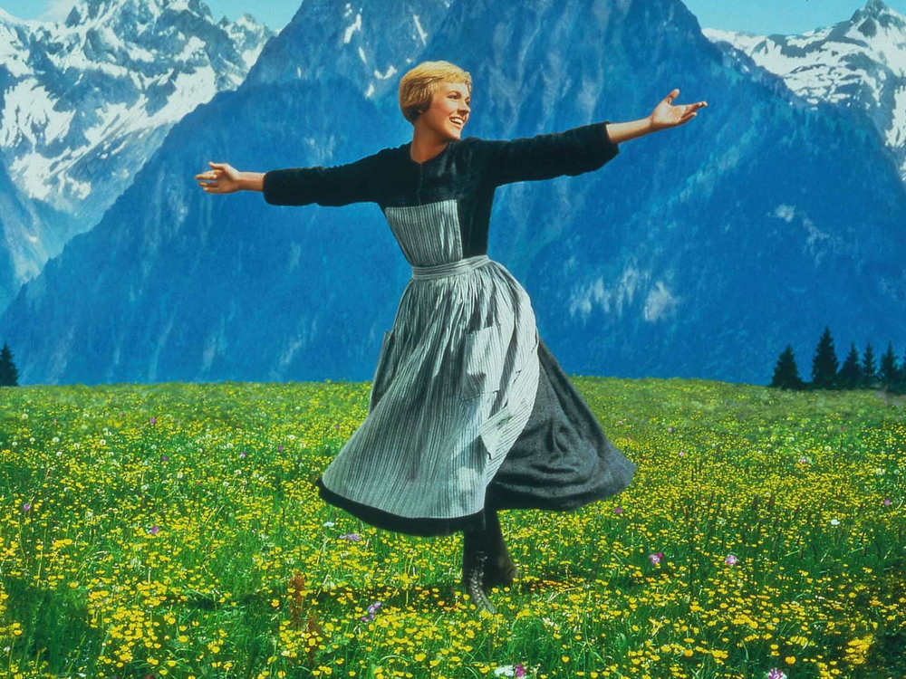 """Julie Andrews in a classic scene of """"The Sound of Music."""""""