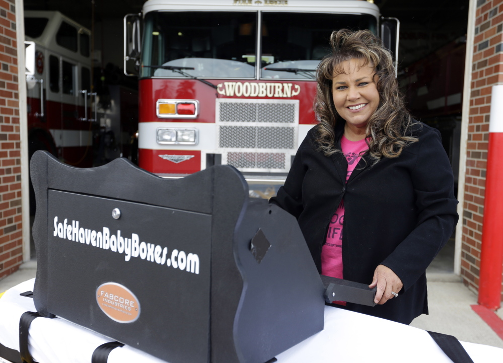 Monica Kelsey, a firefighter and medic who is president of Safe Haven Baby Boxes Inc., says her boxes would be a last resort for women. The boxes would be equipped with sensors and alarms that are triggered when a weight is inside the box.