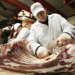 Kent Weise, 58, owner of Amend Packing Co., butchers beef this week in Des Moines, Iowa. In 1990, there were 1,200 federally inspected livestock slaughterhouses in the U.S., but two decades later, that number had fallen to 800. Meanwhile, demand for beef raised and processed locally is surging.