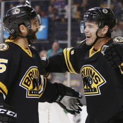Daniel Paille, right, celebrates his second goal of the second period with Max Talbot during the Bruins' 5-3 win over the Detroit Red Wings on Sunday.