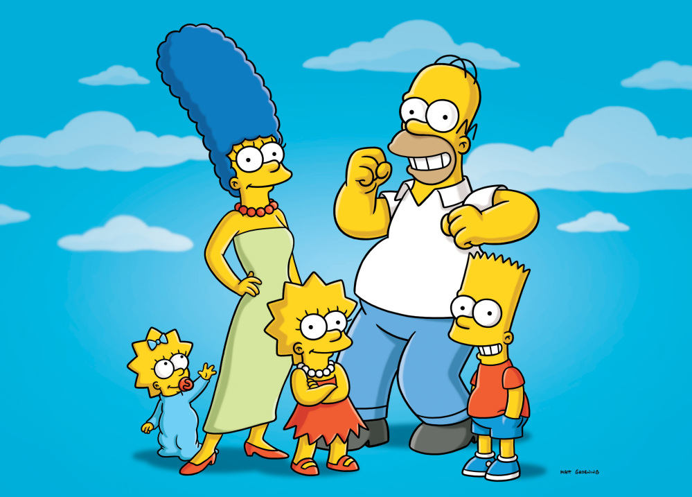 """Characters from the animated series, """"The Simpsons,"""" include, from left, Maggie, Marge, Lisa, Homer and Bart. Simon, a co-creator of the show, died Sunday after a long battle with cancer."""