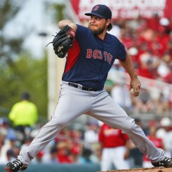 Wade Miley delivers a pitch during his second start of spring training Monday in Jupiter, Fla. Miley pitched three scoreless innings and the Red Sox beat the Cardinals 3-0.