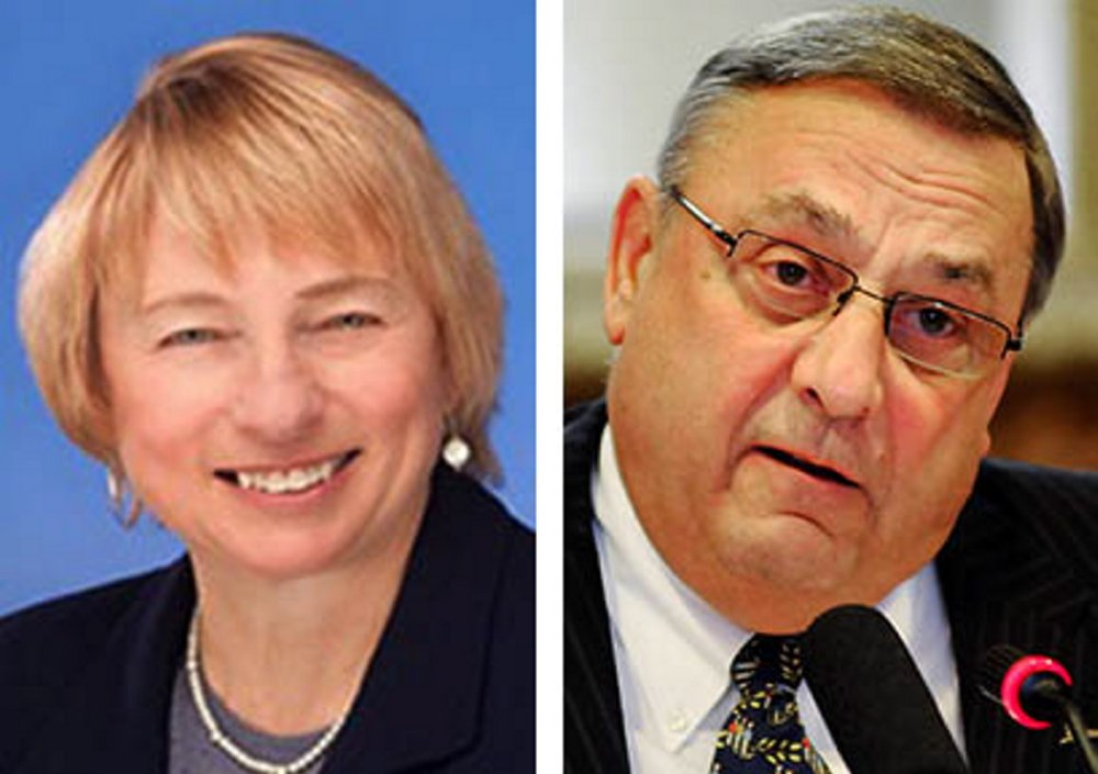 Maine Attorney General Janet Mills, left, and Gov. Paul LePage