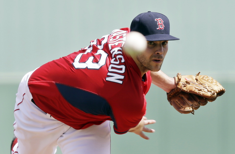 Justin Masterson of the Boston Red Sox struck out four over three perfect innings Tuesday in a 5-1 victory against the Tampa Bay Rays. Masterson has pitched five innings this spring without allowing a run. Boston has won five straight.