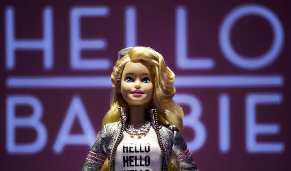 Hello Barbie is shown at the North American International Toy Fair on Feb. 14 in New York. Mattel will release the Internet-connected doll that has real conversations with kids this year.