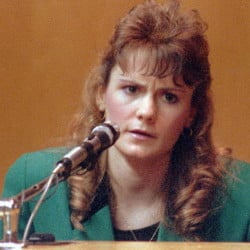 "Pamela Smart testifies in Rockingham County Superior Court in Exeter, N.H., in 1991. Smart was convicted of conspiring with her then 15-year-old lover, William ""Billy"" Flynn, to kill her 24-year-old husband, Gregg Smart. Smart is serving a life without parole sentence. Flynn was granted parole, Thursday, March 12, 2015, by the state parole board in Concord, N.H. Jim Cole/Associated Press"