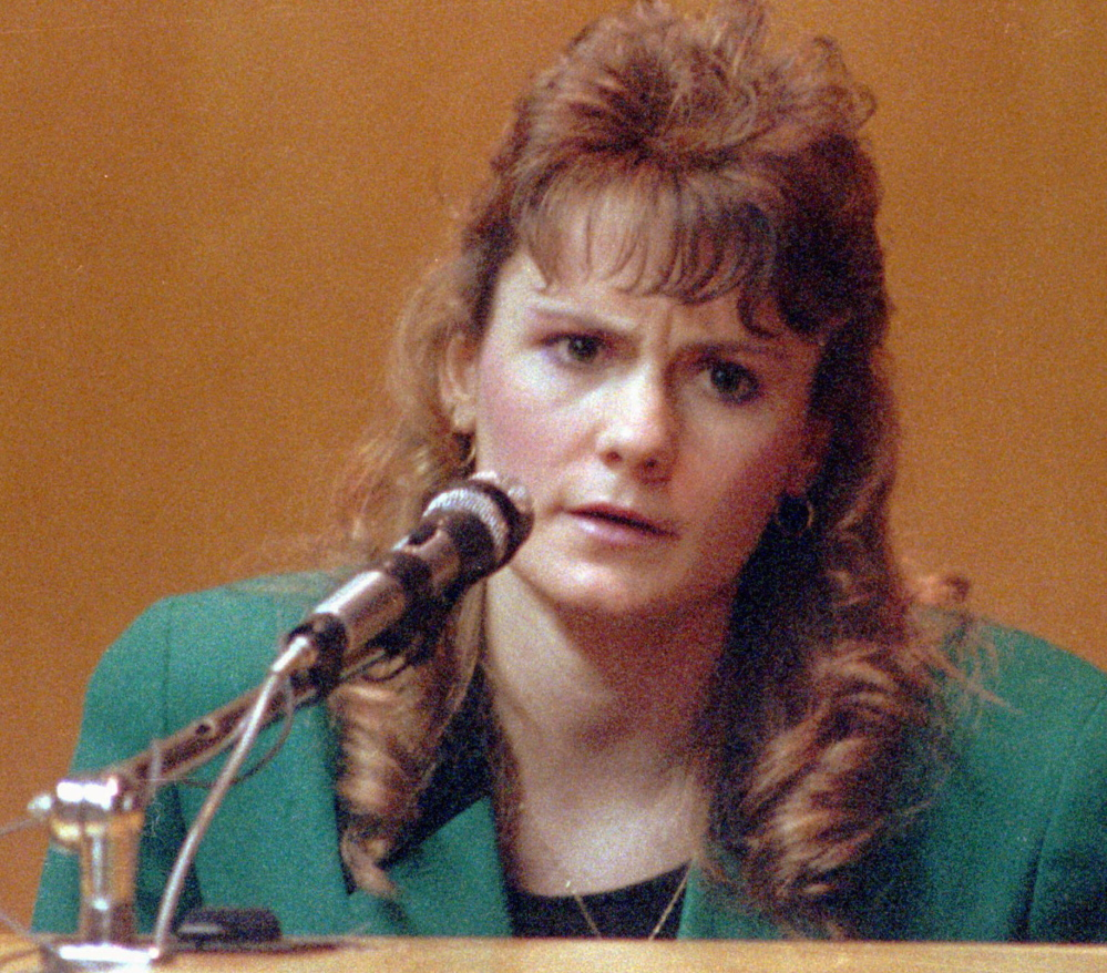 Pamela Smart testifies in Rockingham County Superior Court in Exeter, N.H., in 1991. Smart was convicted of conspiring with her then 15-year-old lover, William
