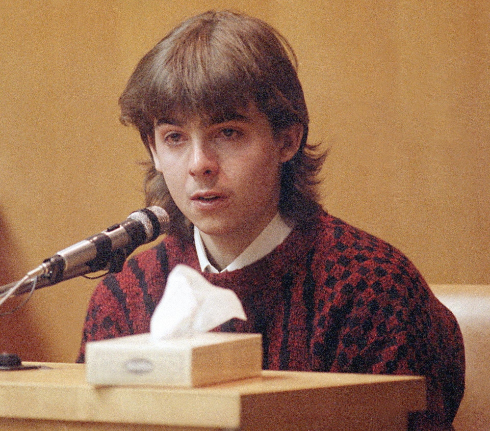 William Flynn, in left photo, testifies as a teen. His school instructor Pamela Smart in right photo, continues to deny that she conspired in the murder of her husband, Gregg Smart.