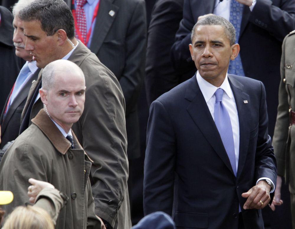President Barack Obama greets people in the crowd at College Green in Dublin, Ireland. Mark Connolly, the second-in-command on Obama's security detail, is at far left.